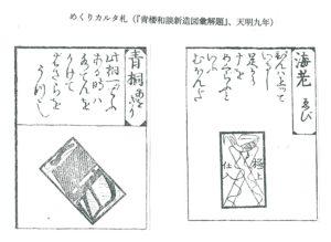 めくりカルタ札 (『青楼和談新造図彙解題』、天明九年 )