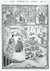 「百人一首絵抄」 (『伊勢物語大成』)  (在原業平朝臣、元禄九年)