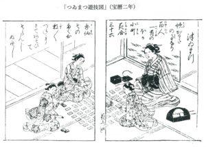 「つゐまつ」遊技図(『絵本花之宴』宝暦二年)