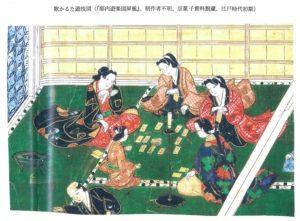 歌かるた遊技図 (『邸内遊楽図屏風』、 制作者不明、 京菓子資料館蔵、江戸時代初期)